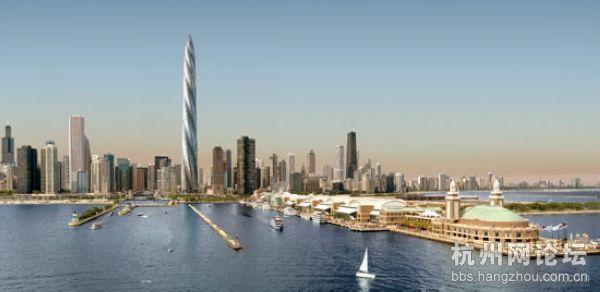 建筑师圣地亚哥•卡拉特拉瓦(Santiago Calatrava)设计的芝加哥螺旋塔(Chicago Spire)将建造在一块面积为2.2英亩的濒水场地上,它将占用场地的一半。芝加哥螺旋塔为一个有7个面的锥形螺旋摩天楼,其高度为2,000英尺,共有150层,它的下面是一个公共广场。芝加哥螺旋塔建成之后,它将是北美最高的建筑物。它的建筑面积300万平方英尺,将有1,200套公寓房间,并且获得绿色建筑最高认证(LEED Gold)。  芝加哥尖顶大厦(Chicago Spire)已经