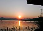 落日余晖 湖光山色